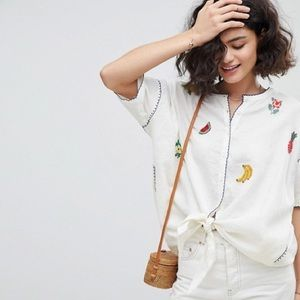 Anthropologie Intropia embroidered fruit l…